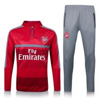 arsenal match - 2017 Arsenal Sweater Long Sleeve Red Jacket Match Gray Pants Soccer Jersey Arsenal Sweater Tracksuit Set Soccer Training Suit