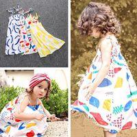 Cheap 3 Color Girl Summer INS Lemon bowknot dot Sling Dress Children Cartoon ins Print sleeveless vest Lemon leaf princess dresses E896