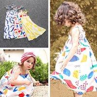 3 Couleur Summer Girl SIN Lemon bowknot dot Sling robe enfants Cartoon ins robes de princesse de la feuille de citron Imprimer manches gilet E896