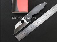 Wholesale 2016 New Spyderco Yojimbo Knife quot Satin C85 GP2 CPM S30V Wharncliffe Carbon fibre handle EDC Pocket Folding knife tactical tool