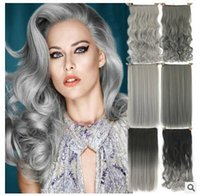 Cheap Wholesale Hot Sale No trace silver Hair extensions Black grey gradient Hair weft Grandma grey clip hair For women Free Shipping
