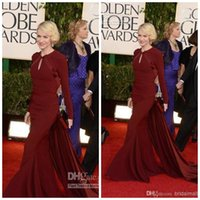 Wholesale 70th Golden Globe awards Red Carpet Dresses Naomi Watts Pageant Long Sleeve Court Train Long Sleeve Cheap Price Celebrity Dresses DH11