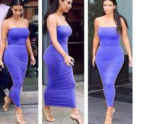Robes moulantes kardashian France-Hot Style en Europe et le commerce extérieur Kim kardashian robe bustier avec un club particulier serré sexy robe de la fesse de paquet élastique