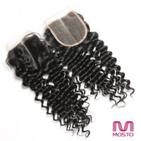 7A del pelo humano del encierro del pelo humano Medio / free / Three manera Parte profunda Extensiones superiores del pelo humano del encierro del cordón de la onda 1B