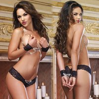 Wholesale Adult Lingerie Sexy Underwear For Women Open Bust Ring Detail Top and Panty Black White Bra Top Sets