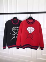 Wholesale hot New Brand Winter mens womens Diamond space cotton sweater Splicing wool lover sweatshirts Bulb skull letter print jumper