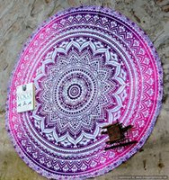 Wholesale DHL SEND CHEAPPEST Round Beach Blanket cm Large Cotton Printed Round Beach Towels With Tassel Circle Beach Towel Serviette De Plage