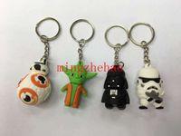 Wholesale 20 Star Wars Doll Keychains Black Knight Darth Vader Master Yoda BB8 Pendants Trooper Key Chains Star warsToys Model PVC CM Height