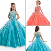 Wholesale 2016 Girls Pageant Dresses Gorgeous Jewel Crystal Beads Ball Gown Lovely Rachel Allan Girls Pageant Gowns Flower Girl Dresses HY1135