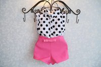 Cheap summer girls clothing sets girl baby clothes polka dot coat + pink pants baby clothingutfit Children Clothing Kids Clothes Suit