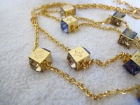 Wholesale Top quality Luxury designer fashion K yellow gold plated purple crystal gamble long necklaces party jewelry for women