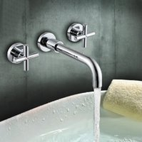 Wholesale Dual Handles Bathroom Wall Mounted Faucet Bathroom Polished Chrome Mixer Tap Bathroom tap High quality HJ