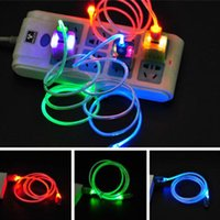 Cheap USB wholesale 1M colorfull LED luminous mini Best for android or iphone 5 6 black,white,red,yellow,blue micro USB data charger cable digital