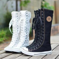 gothic punk - Hot Sale Ladies Girls Canvas Boots Women Punk EMO Knee High Sneakers Fashion Causal Shoes Gothic lace up Boots