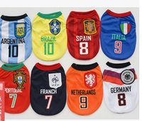 apparel process - 2016 Dog Apparel spring summer dog world cup clothes pet clothes vest production and processing spot team