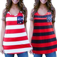 achat en gros de shirt drapeau américain femmes de-Vente en gros-Mode féminine été Sexy sans manches Hauts-américain USA Flag Imprimer Tank Top Stripes Femme Blouse Vest Shirt