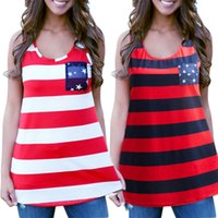 97%Polyester+3Spandex Print Others Wholesale-Fashion Women Summer Sexy Sleeveless Tops American USA Flag Print Stripes Tank Top for Woman Blouse Vest Shirt
