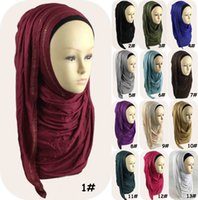 bead embroidery supplies - Factory directly supply original new design Plain cotton jersey instant shawl with stones modal slip lycra hiljab