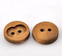 apparel sewing button - 15mm Brown Round Depression Holes Wooden Buttons Circular Button For Apparel Sewing Decorative Buttons I57L