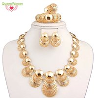 al gifts - New Arrivle Fashion Trendy costume Jewelry Set With Gold Necklace Earring Ring Chain For Women Wedding Party Gift AL