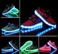Wholesale New fashion Children Kids Boys Girls USB Luminous Sneakers Led Light Up shoes