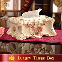 Wholesale Porcelain tissue box ivory porcelain flowers design embossed outline in gold tissue box pumping decoration tissue box gifts