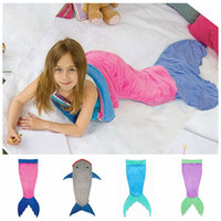 animal style - Kids Mermaid Blankets Shark Sleeping Bag Mermaid Tail Sleeping Bag Mermaid Wrap Cocoon Costume Bed Sofa Blankets Air condition Blankets E13
