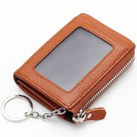 Wholesale hot sale colors high quality fashion women lady cowhide key wallet keychain with photo holder leather coin purse