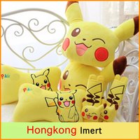 Wholesale Cute pair Poke Pikachu funny cushion plush car safety belt cover headrest Vehicle rest pacify Neck pillow stuffed toy