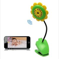 Wholesale 2016 Wifi Wireless Baby Monitor Camera Sunflowers Phone Remote Monitoring Built In Microphone Infrared Night Vision Light Support SD Card
