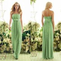 Cheap Cheap Long Strapless Floor Length Chiffon Lime Green Bridesmaid Dresses Maid of Honor Dresses