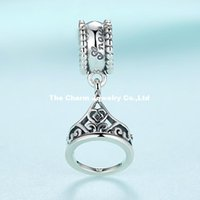 belle foods - 925 Sterling Silver Disny Belle Tiara Charm Pendant Heart Crown Bead Fits Pandora Bracelets For Diy European Necklace
