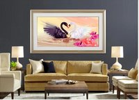 best scenery - diamond embroidery diy Diamond painting round resinl cross stitch swan in river best gift for lover scenery series Ferr shipping