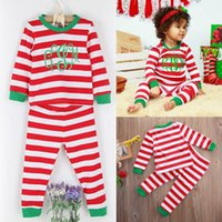 baby nightwear - 2016 Xmas Kids suits Baby Boys Girls merry Christmas striped Nightwear cotton colorful Sleepwear children Suit Pajamas casual outfits T