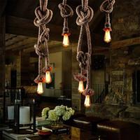 venda por atacado iron art-Corda Vintage Ferro teto Pan Luzes Pingente Retro industrial Loft Bar Hemp Rope Lamp Chaves Lamparas Colgantes Luminaria Luz