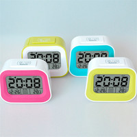 Wholesale Lazy Intelligent Electronic Alarm Clocks for Family Square Plastic Digital Pastoral Alarm Clocks with LED Backlit Display Screen DC