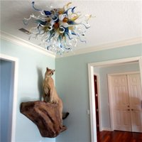 Wholesale Western Style Light for High Ceiling Livingroom Decoration Murano Glass Art Colorful Chandelier Home Design Blown Glass Pendant Lamp LR1116