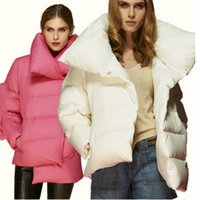 Wholesale abrigos mujer Autumn Winter Fashion High Collar Duck Down Jacket Female Pink White Thick Warm Parka Brand High Quality Loose Coat