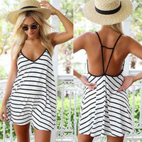 Wholesale Sexy Stripes Dress White Black - 2016 New Sexy Womens fashion Black and white stripes Loose V-neck Halter Swimwear summer Beachwear Casual Dress