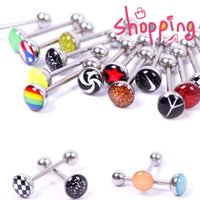 Wholesale 30pcs stainless Steel tongue ring mix different logo Nipple Bar body jewelry Piercing Tongue