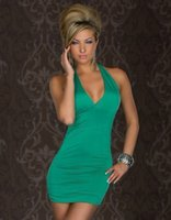 Wholesale Foreign trade dress a undertakes to hang a neck v neck backless draw string sexy night dress hot style