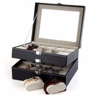 Wholesale Grid Slots Gift Jewelry Box Watches Display Storage Organizer Box Case Leather Glass Window Watch Box Layers us6