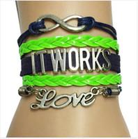 al por mayor pulseras de cuero de terciopelo-Envío de la gota Infinito / amor trabaja la pulsera-azul marino con el cuero verde neón Braided la correa regalo del equipo de la pulsera del terciopelo