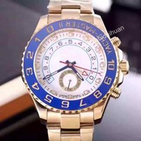 automatic blue dial - Christmas gift automatic mechanical master watch movement man stainless steel blue bezel golden case white dial mens wristwatch