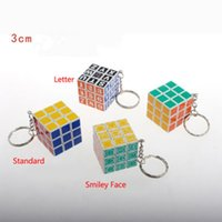 Wholesale New Sale x3x3 Mini Magic Cubes third order Children Adult Magic Game D Cube Puzzle Twist Toy Gift With Keychain