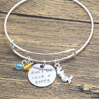 flounder fish - 12pcs Little Mermaid Inspired bracelet Flounder fish bangle Don t be such a guppy Silver tone