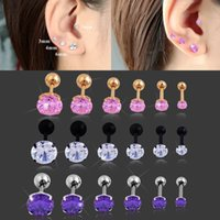 Wholesale 316L Stainless Steel mixed style round star Zircon Tragus Earring Helix Barbell Ear Piercing Cartilage Ring Jewelry For Women