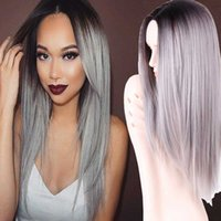 Wholesale Grey Ombre Wig False Hair Synthetic Wigs for Black Women quot Long Straight Natural Cheap Hair jenner Gray Wig Female Hair