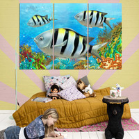 beautiful ocean scenery - 3 panels home deco decorative painting on canvas beautiful scenery ocean lovely fish no frame