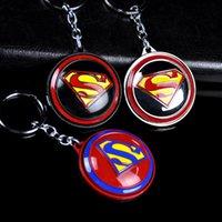 Bon Marché Décor de zinc-The Avengers New Superman Pendentif Rotatif en alliage de zinc Keychain Cadeau d'anniversaire Clé de voiture Anneau Dangle Decor Accessory